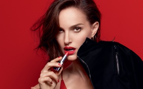 Картинка фотосессия, Rouge Dior, макияж, Натали Портман, Natalie Portman, красотка, помада, актриса, фон, реклама, бренд, портрет, ...