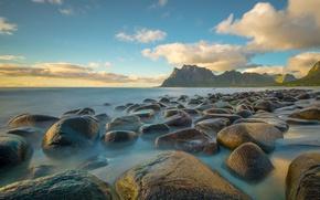 Картинка море, камни, побережье, Норвегия, Utakleiv