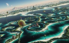 Картинка море, небо, горы, фантастика, скалы, планета, растения