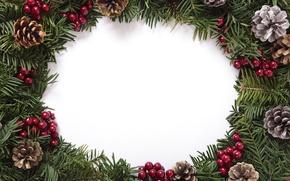 Картинка елка, Новый Год, Рождество, шишки, merry christmas, decoration, xmas, frame