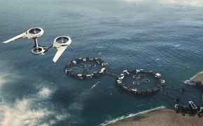 Картинка море, сооружения, летательный аппарат, From Port to Port, moodscene-concept