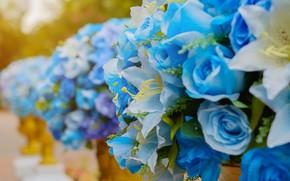 Обои цветы, лилии, букет, Розы