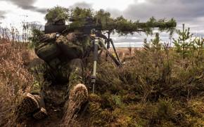 Обои снайпер, маскировка, солдат, винтовка