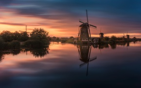 Картинка река, вечер, канал, Нидерланды, ветряные мельницы
