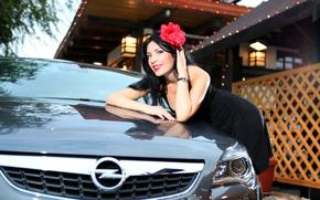 Картинка авто, цветок, взгляд, девушка, Девушки, прическа, Opel