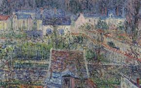 Картинка пейзаж, дом, картина, Гюстав Луазо, Gustave Loiseau, Деревня Триель