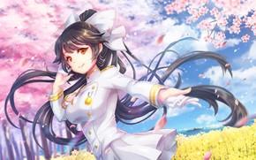 Картинка девушка, цветы, весна, сакура, арт, takao, azur lane