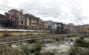 Картинка здания, загрязнение, локомотив, Valentine Sorokin, Condemned Motherland