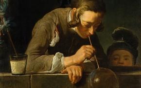 Картинка картина, жанровая, Мыльные Пузыри, Жан Симеон Шарден, Jean Baptiste Simeon Chardin