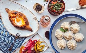Картинка овощи, хинкали, хачапури, грузинская кухня