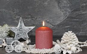 Картинка звезда, новый год, свечи, шишки, декор, ветки ели