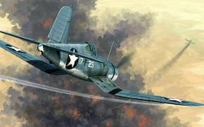 Картинка США, Corsair, Chance Vought, одноместный палубный истребитель, F4U-1