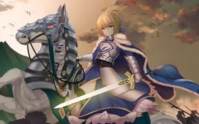 Картинка закат, конь, лошадь, аниме, арт, сейбер, Fate / Grand Order