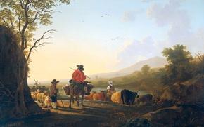 Обои Пейзаж с Пастухом и Погонщиком, Якоб ван Стрий, масло, картина, дерево
