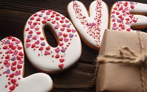 Картинка любовь, романтика, подарки, сердечки, red, love, romantic, hearts, Valentine's Day, gift, cookies