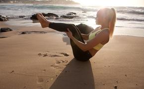 Картинка sand, pose, workout, fitness, Yoga