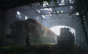 Картинка человек, разрушения, техника, ангар, Abandoned depot