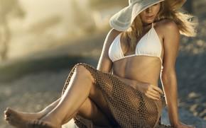 Картинка пляж, лето, девушка