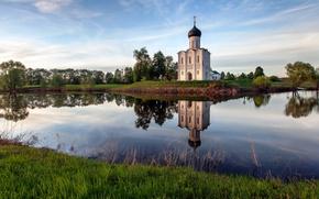Картинка трава, вода, природа, церковь
