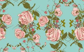 Картинка фон, розы, текстура, винтаж