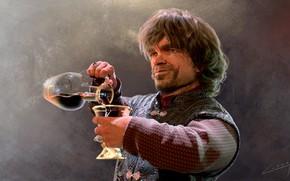 Картинка кино, вино, игра, бокал, портрет, фэнтези, арт, игра престолов, Tyrion Lannister, Peter Dinklage, Тирион Ланнистер, …