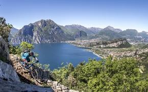 Картинка горы, Франция, Альпы, спортсмен, велосипедист, mountain bike