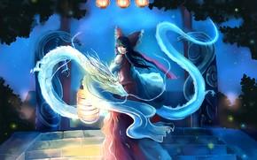 Картинка ночь, светлячки, магия, драконы, фонари, лестница, бант, жрица, art, со спины, Hakurei Reimu, Touhou Project, …