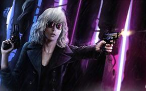 Картинка девушка, пистолет, дождь, Charlize Theron, пуля, Lorraine Broughton, Atomic Blonde