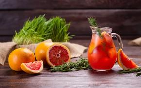 Обои лимонад, кувшин, drink, напиток, fresh, грейпфрут