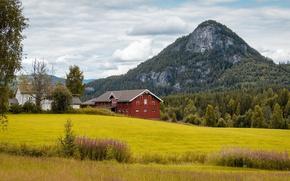 Картинка гора, Норвегия, ферма, Norway