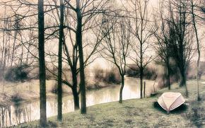 Картинка деревья, туман, река, лодка