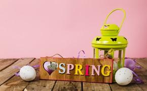 Картинка Happy, spring, eggs, lantern, Пасха, яйца, Easter, wood, decoration, весна