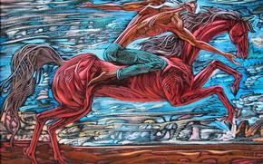 Обои Айбек Бегалин, 2007г, парень мчиться, белый платок, Суюнши, красная лошадь