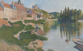 Обои река, город, дома, пуантилизм, Лез-Андели, Поль Синьяк, лодка, картина