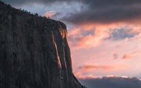 Картинка море, скала, вечер, Гора, rock, sea, Mountain, evening