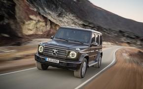 Картинка дорога, движение, Mercedes-Benz, размытие, 2018, G-Class