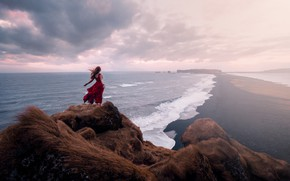 Обои девушка, берег, море