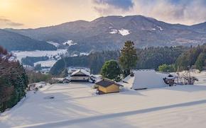 Картинка зима, снег, деревья, горы, дом, Япония