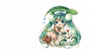 Картинка девушка, цветы, снежинки, весна, аниме, арт, чиби, зайчик, вокалоид, ландыш, Мику, Spring Miku, vocaloid.