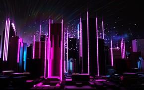 Картинка Музыка, Город, Будущее, Неон, Небоскребы, Electronic, Synthpop, Darkwave, Synth, Retrowave, Синти-поп, Синти, Synthwave, Synth pop