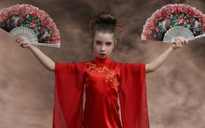 Картинка стиль, фон, Восток, руки, девочка, красное платье, веера