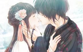 Картинка девушка, романтика, аниме, пара, парень