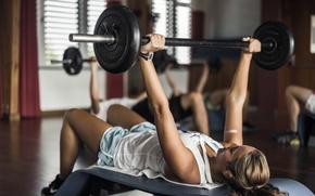 Картинка metal, pose, female, fitness, Weight training