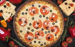 Картинка сыр, перец, овощи, пицца, помидоры, маслины