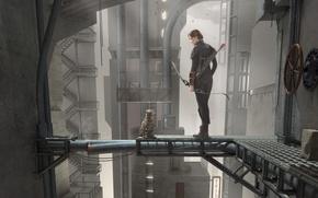 Картинка кот, девушка, лук, стрелы, Голодные игры, по мотивам фильма