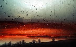 Картинка капли, закат, дождь, вечер, окно