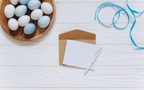 Картинка письмо, ручка, лента, Праздник, конверт, пасха яйца