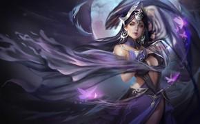Картинка девушка, ночь, магия, луна, воин, арт, fantasy, бабочкa, wang yue, 2017.6