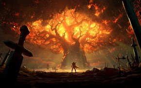 Картинка fire, battlefield, sword, World of Warcraft, fantasy, game, Warcraft, Teldrassil, trees, landscape, battle, weapons, elf, ...