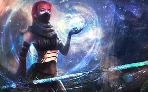 Картинка девушка, магия, меч, арт, маг, рыжая, guild wars 2